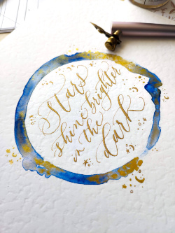 Gold Ink and watercolour Modern Calligraphy Quote