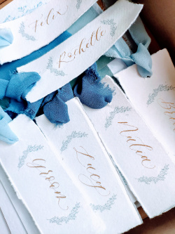 Hand illustrated blue calligraphy Place names